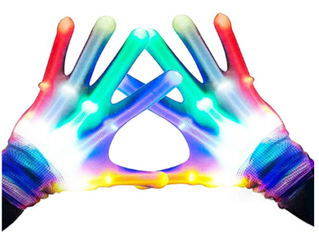 This is an image of a colorful LED glove designed for kids.