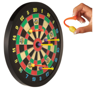 This is an image of a dart board with magnetic features designed for kids.