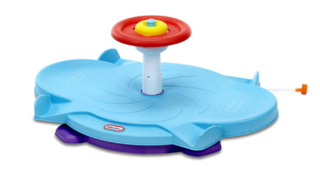 This is an image of a blue dual spinner toy for kids.
