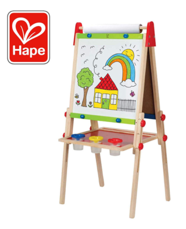 This is an image of a double sided white chalkboard for kids.