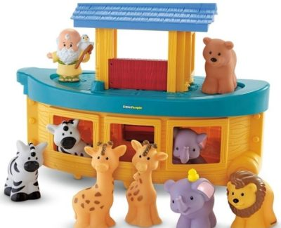 This is an image of baby toy noah's ark with animals