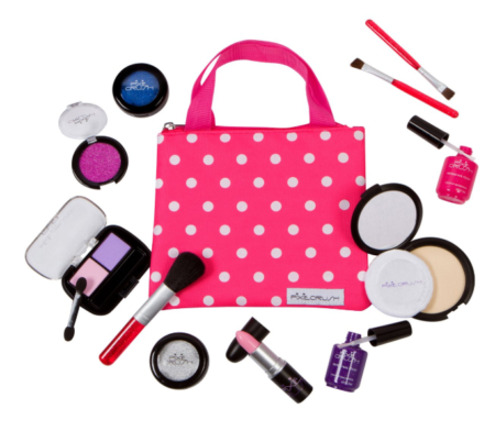 This is an image of a pink makeup toy kit for little girls.