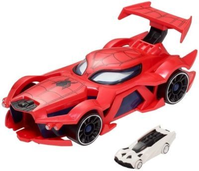 This is an image of kids spider man hot wheels car