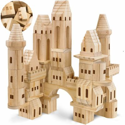 This is an image of girls mediaval knights wooden castle building blocks
