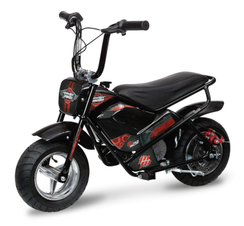 This is an image of a black and red electric mini bike designed for little kids.