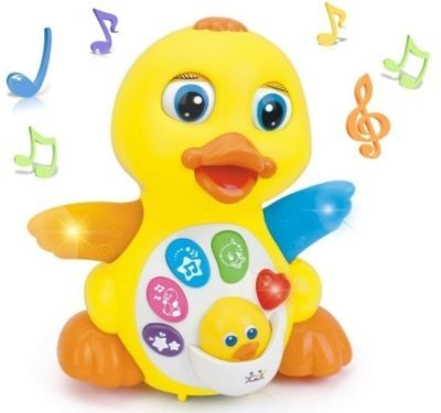 This is an image of baby musical flapping duck in yellow color