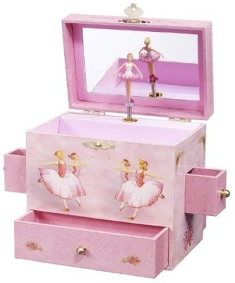 This is an image of girls musical jewelry box in pink color
