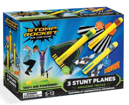 This is an image of a stunt plane toy set for kids.