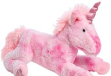 This is an image of pink plush unicorn in pink color