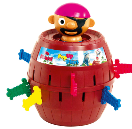 This is an image of a pirate in a barrel with colorful swords.