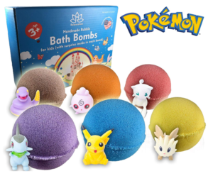 This is an image of a 6 piece pokemon bath bombs for kids.