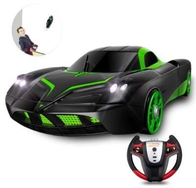 This is an image of kids remote control car in black and green colors