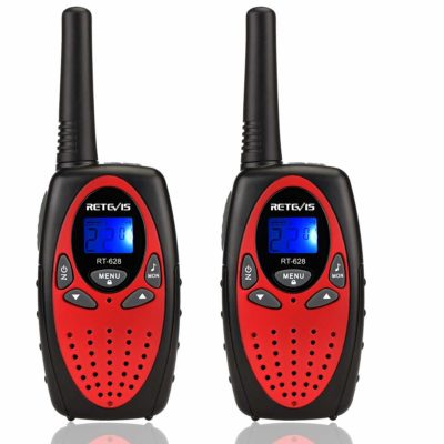 This is an image of kids walkie talkies in black and red colors by retevis