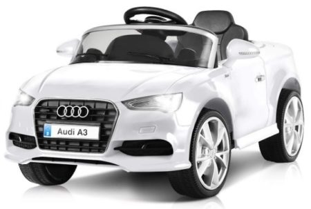 This is an image of kids ride on car audi A3 powered car in white color