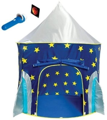 This is an image of kids rocket ship play tent in blue color