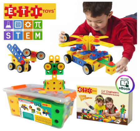 This is an image of a child playing an education building block kit.