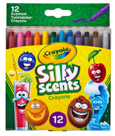 This is an image of a colorful scented crayons for kids.