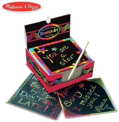 This is an image of girls scratch art box of rainbow