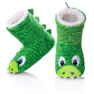 this is an image of toddler dinosaur slipper boots
