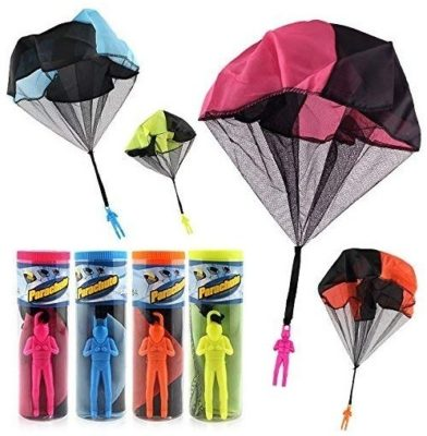 This is an image of kids set trangle figures parachute with 4 figures in multi colors