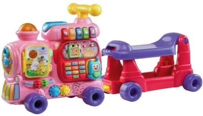 This is an image of baby sit to stand alphabet train in pink color