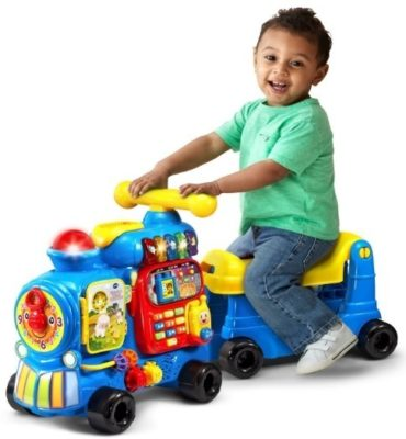 This is an image of baby sit to stand train in blue color