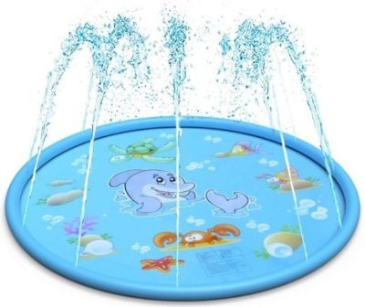 This is an image of kids water play mat sprinkle and splash in blue colors also have beautiful fish cartoon designs