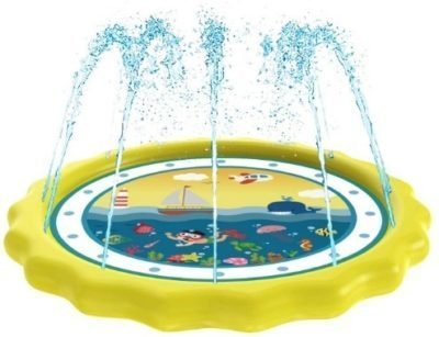 This is an image of baby sprinkler play toy in yellow color