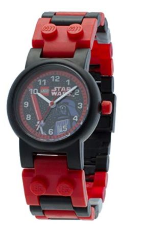 This is an image of a black and red Star Wars watch for kids.