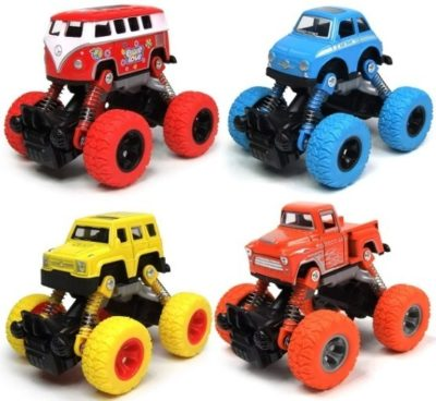 This is an image of toddler 2 years old toys pull back cars pack with 4 cars