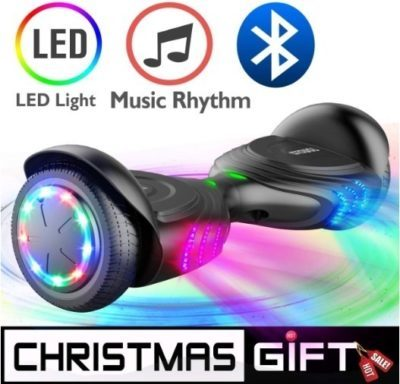 This is an image of kids black hoverboard with led wheels and music