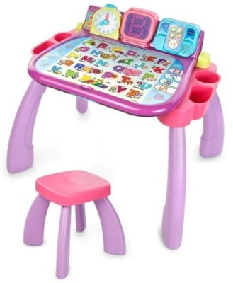 This is an image of girls activity desk in purple color