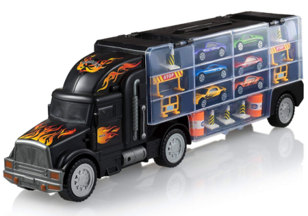 This is an image of a toy carrier truck with 6 toy cars and accessories.