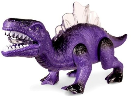 This is an image of realistic dinosaurs walking with sounds in purple color