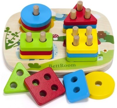 This is an image of baby wooden educational gometric board blocks