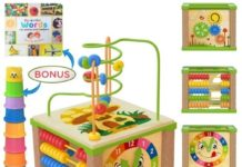 This is an image of baby wooden kids baby activity cube in multi color