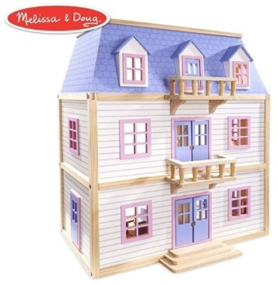 This is an image of girls wooden multi level dollhouse in pink and purple colors