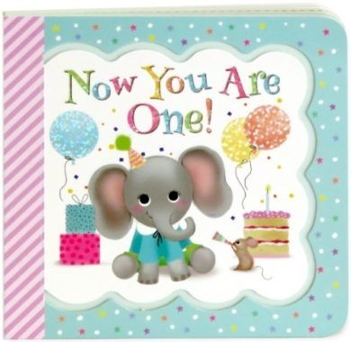 This is an image of baby book named now you are one with elephant design