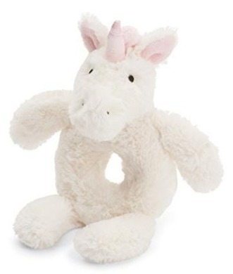 This is an image of baby unicorn plush in white color