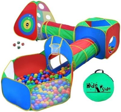 This is an image of baby ball pit tents in colorful colors that has tunnels and jungle gym