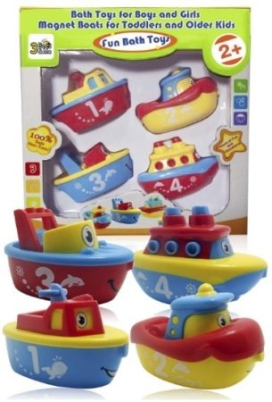 This is an image of baby bath toys pack with four toys
