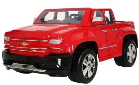 This is an image of kids chevy silverado truck ride on toy in red color