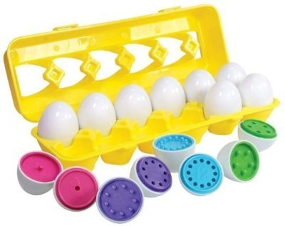 This is an image of baby matching egg with colors set