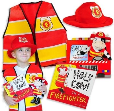 This is an image of firefighter gift set included costum and a book