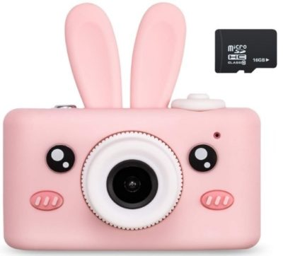 This is an image of girls camera with rabbit cover in pink color