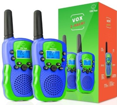 This is an image of kids walkie talkies in blue and green colors
