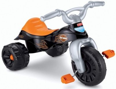 This is an image of baby harley davidson tough bike in orange and black colors