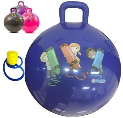 This is an image of kids hippity hipe with foot pump in purple color