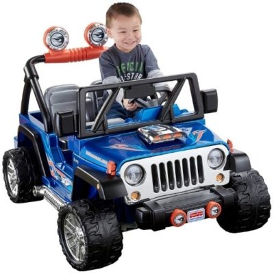 This is an image of kids hot wheels jeep in blue color