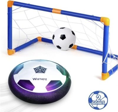 This is an image of kids hover soccer ball set with 2 goals in blue color